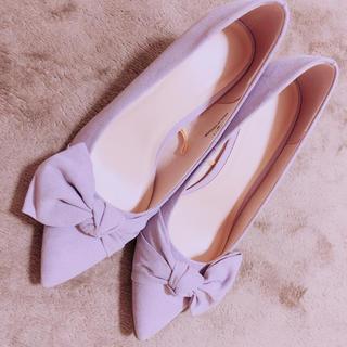 ジーユー(GU)の「GU」 薄紫 ヒール パンプス リボン Mサイズ かわいい(ハイヒール/パンプス)