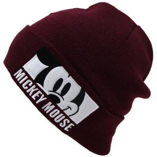 ミッキーマウス(ミッキーマウス)のミッキーマウス ニット帽子 ワッチ ミッキーフェイス★ワイン【新品】(ニット帽/ビーニー)