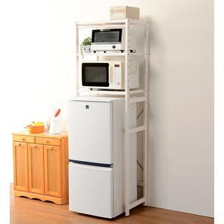 冷蔵庫専用ラック レンジ収納 ホワイトウォッシュ(キッチン収納)
