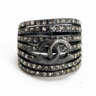シャネル(CHANEL)のシャネル ラインストーン リング 指輪 ココマーク ブラック(リング(指輪))