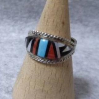 Y309 SIRVER925 ズニ族☆天然石インレイリング13号 インディアン(リング(指輪))