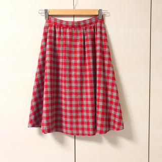 サロンドバルコニー(Salon de Balcony)のチェック ウールスカート フレアスカート(ひざ丈スカート)