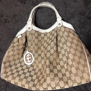 グッチ(Gucci)のGUCCI  キャンバストートバッグ ベージュ×ホワイト(トートバッグ)