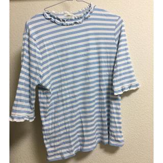 ジーユー(GU)のGU 韓国 Tシャツ ボーダー 水色 レース(Tシャツ(長袖/七分))