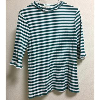 ジーユー(GU)のGU ボーダー Tシャツ 緑 レース 韓国(Tシャツ(長袖/七分))