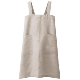 ムジルシリョウヒン(MUJI (無印良品))の新品   無印良品  麻平織 肩掛けエプロン 生成  (収納/キッチン雑貨)