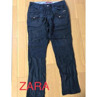 ザラ(ZARA)のZARA パンツ ネイビー リネン100 usa32 175cmくらい(チノパン)