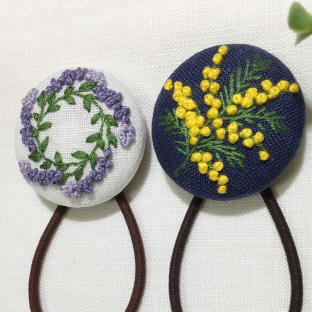 [めぐーーーぅ様 専用ページ] 刺繍ヘアゴム  ハンドメイドのアクセサリー(ヘアアクセサリー)の商品写真