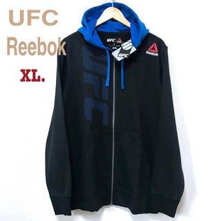 リーボック(Reebok)の新品 UFC リーボック フルジップ ロゴパーカー XL 黒 青(パーカー)