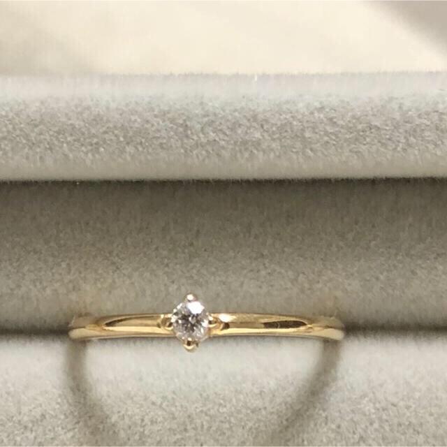 agete(アガット)の10KYG 一粒ダイヤモンド リングとブレスレットのセット レディースのアクセサリー(リング(指輪))の商品写真