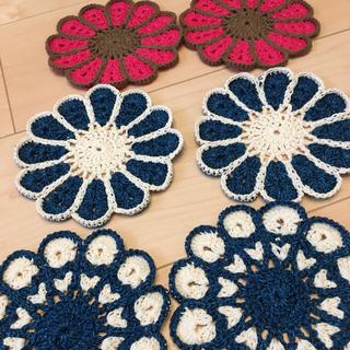 デニムカラー お花のコースター(キッチン小物)