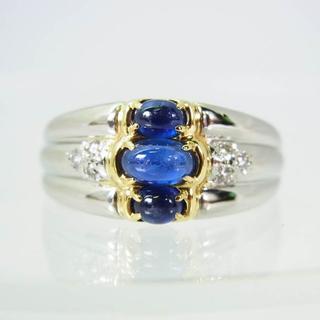Pt900/K18 サファイア ダイヤモンド リング 21号[f275-4](リング(指輪))