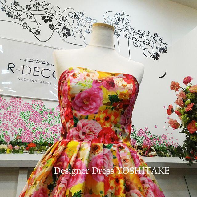 ウエディングドレス(パニエ無料) オレンジ花柄ショートドレス 二次会 レディースのフォーマル/ドレス(ウェディングドレス)の商品写真