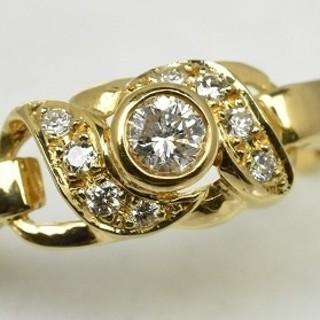K18ゴールド 中石 0.16ct ダイヤモンドリング 12号 指輪  (リング(指輪))