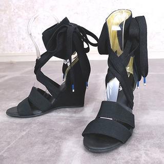 アディダス(adidas)のadidas ORIGINALS レースアップ◎ウェッジソールサンダル 黒(サンダル)