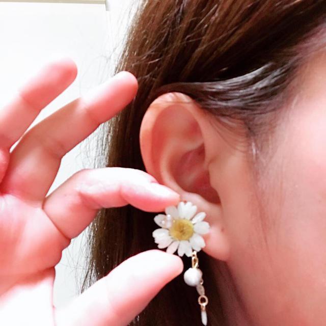 白いお花ゆらゆらピアス ハンドメイドのアクセサリー(ピアス)の商品写真