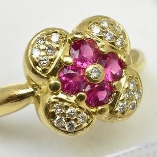K18 ルビー 0.45ct ダイヤモンドリング 10号 指輪  (リング(指輪))
