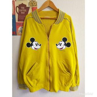 ディズニー(Disney)のDisney ミッキー個性派古着レトロ長袖ゆるだぼスウェットスタジャン ブルゾン(ブルゾン)