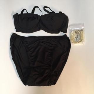 女性下着  ブラ&ショーツ  Mサイズ  ブラック  新品未使用(ブラ&ショーツセット)