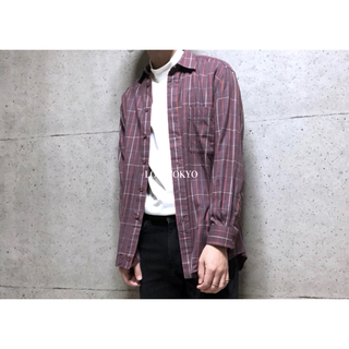 [used]'Burberry' wine red plaid shirt.(シャツ)