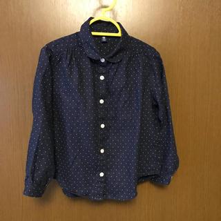 MUJI (無印良品) - 無印☆110cm 丸襟 ドット シャツ 紺