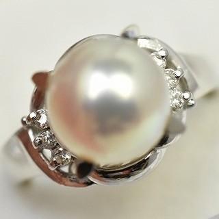 専用です Pt900 パール 真珠 8mm ダイヤモンドリング 8号 指輪  (リング(指輪))
