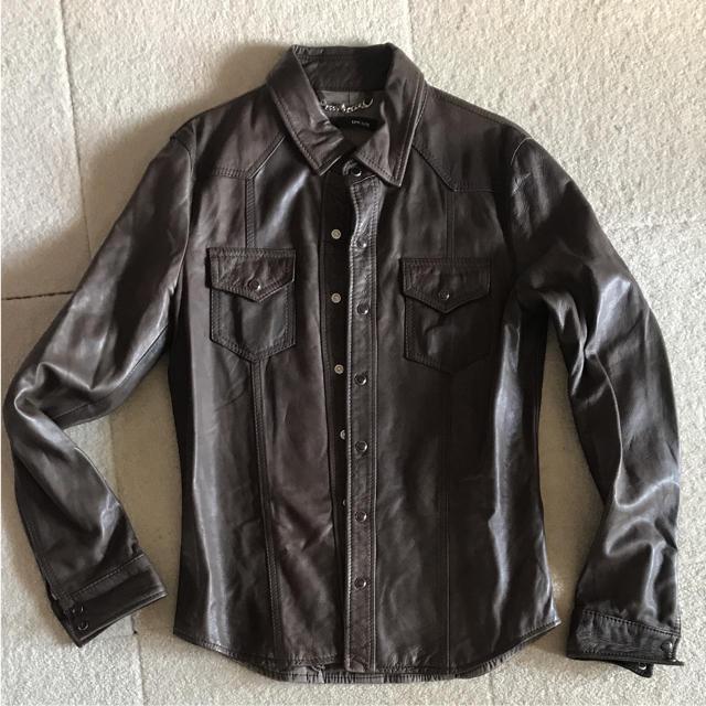 AMERICAN RAG CIE(アメリカンラグシー)のDACUTE レザー ジャケット シャツ ブラウン バイク ビームス 最終売切り メンズのジャケット/アウター(レザージャケット)の商品写真