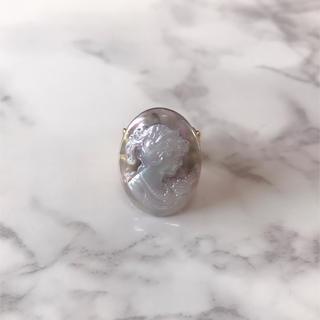 レディーカボションリング♥︎グレーオーロラ ハンドメイドアンティークヴィンテージ(リング(指輪))