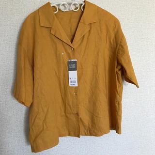 ジーユー(GU)のGU 開襟シャツ リネンブレンド オープンカラーシャツ(シャツ/ブラウス(半袖/袖なし))