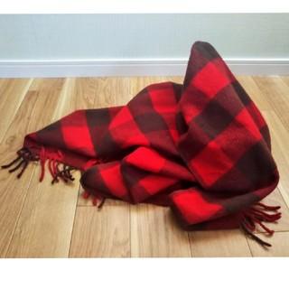 ムジルシリョウヒン(MUJI (無印良品))の無印良品  赤のチェックブランケット(マフラー/ショール)