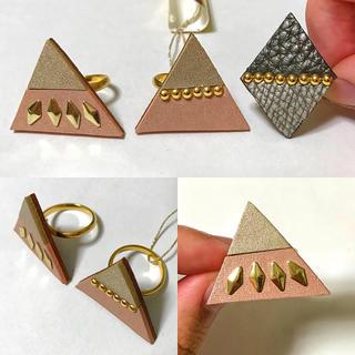 本革 レザー アクセサリー リング 指輪 ピンクベージュ ゴールド フリーサイズ(リング(指輪))