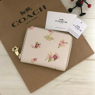 コーチ(COACH)の超最新作 2018.5発売!COACH チャックがリボンの折財布 フラワー(財布)