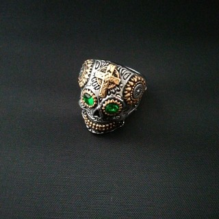ドクロ スカル 骸骨 グリーンアイ リング 指輪 19号(リング(指輪))