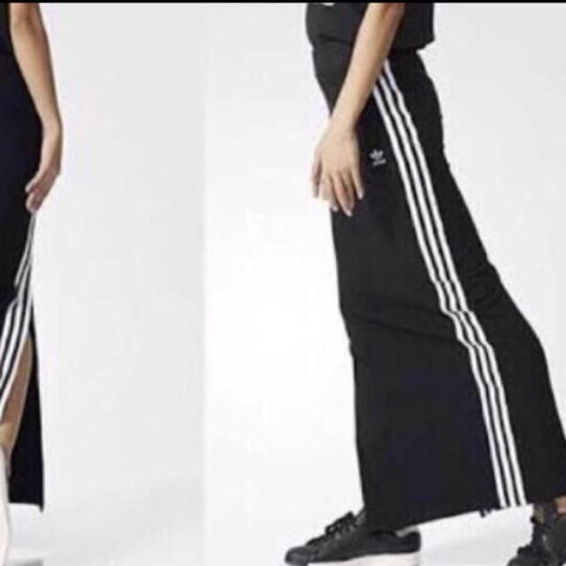 adidas(アディダス)のadidas originals 3STRIPE LONG SKIRT 黒白 S レディースのスカート(ロングスカート)の商品写真