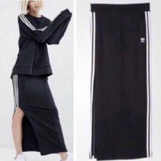 アディダス(adidas)のadidas originals 3STRIPE LONG SKIRT 黒白 S(ロングスカート)