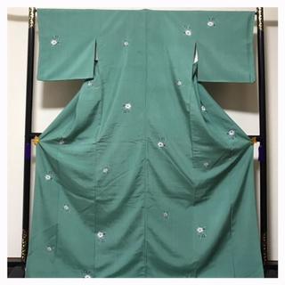 極上逸品 辻ヶ花 絞り 特大サイズ 上質 正絹 紬 袷 中古品(着物)