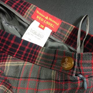 ヴィヴィアンウエストウッド(Vivienne Westwood)の大幅値下げ 美品 Vivienne デザインフレアスカート 赤系チェック(ミニスカート)