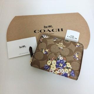 コーチ(COACH)の新品 最新モデル COACH 二つ折り財布 人気 フローラル カーキ(財布)