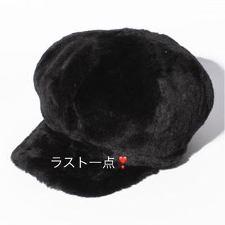 ナイスクラップ(NICE CLAUP)の新品 定価3132円 ナイスクラップ  帽子 エコファー キャスケット ブラック(キャスケット)