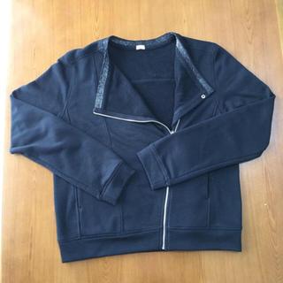 ジーユー(GU)のgu スウェット ライダース L 黒 ブラック ジャケット カーディガン (ライダースジャケット)