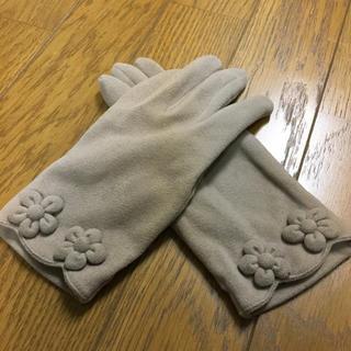セイブヒャッカテン(西武百貨店)の西武にて購入 お花 ベージュ グレー グレージュ 手袋 美品(手袋)