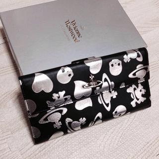 ヴィヴィアンウエストウッド(Vivienne Westwood)のドクロ ロゴプリント 長財布 シルバー(財布)