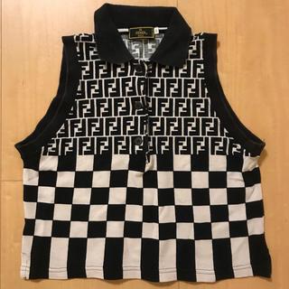 フェンディ(FENDI)の【FENDI】90s ヴィンテージ レトロ ズッカ柄 ノースリーブ ポロシャツ(ポロシャツ)