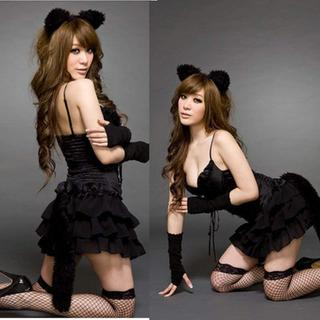 セクシー コスプレ ねこ ネコ 猫 衣装 仮装 ネコミミ カチューシャ バニー (衣装一式)