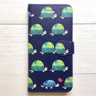 亀  手帳型スマホケース  iPhone8  全機種対応(スマホケース)
