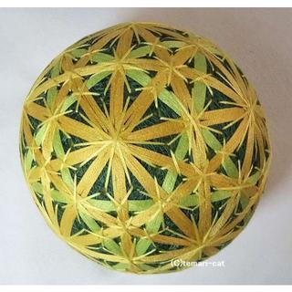 絹てまり「花七宝、イチョウ」 緑地 手まり 手毬 手鞠(置物)
