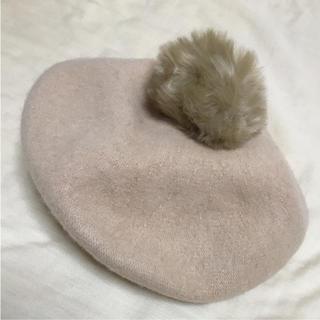 アースミュージックアンドエコロジー(earth music & ecology)の新品未使用 ファー付き ベレー帽(ハンチング/ベレー帽)