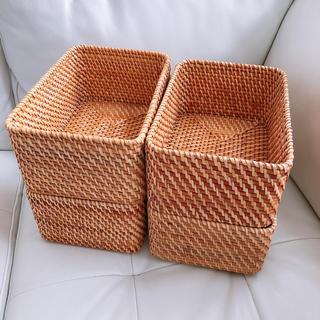 ムジルシリョウヒン(MUJI (無印良品))の【美品】無印良品 重なるラタン 長方形ボックス小4個セット(ケース/ボックス)