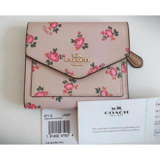 コーチ(COACH)の新品 COACH コーチ 三つ折り財布 ピンク 花柄 正規品(財布)