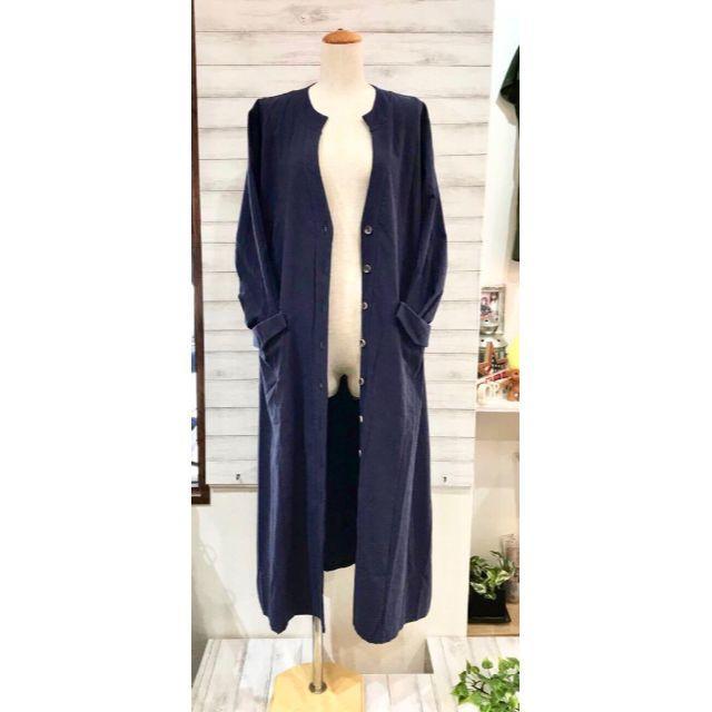 オリジン綿麻のコート ロング丈 ポケットあり 無地 レディースのトップス(カーディガン)の商品写真